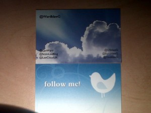 Twitter Business Card Distributed at Event - who got one? ;-)