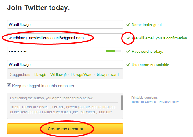 Multiple Twitter Emails Create New Twitter Account