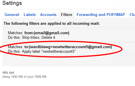 Multiple Twitter Emails Following filters applied
