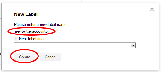 Multiple Twitter Emails New Label Name