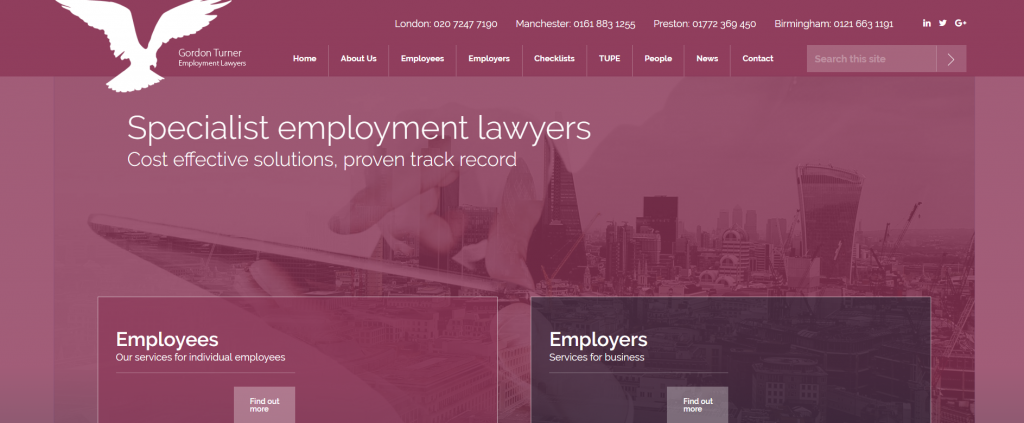 Best Employment Law Firm Website Design Example UK