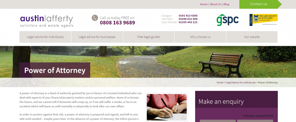 Legal Landing Page Example for Scotland's Celebrity Lawyer Austin Lafferty