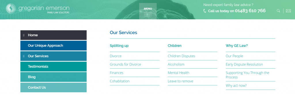 Legal Web Design Flyout Menu Example